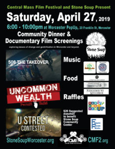 Poster for the Central Mass Film Festival event on April 27, 2019, at the Worcester PopUp, located at 20 Franklin Street, Worcester, MA 01608.