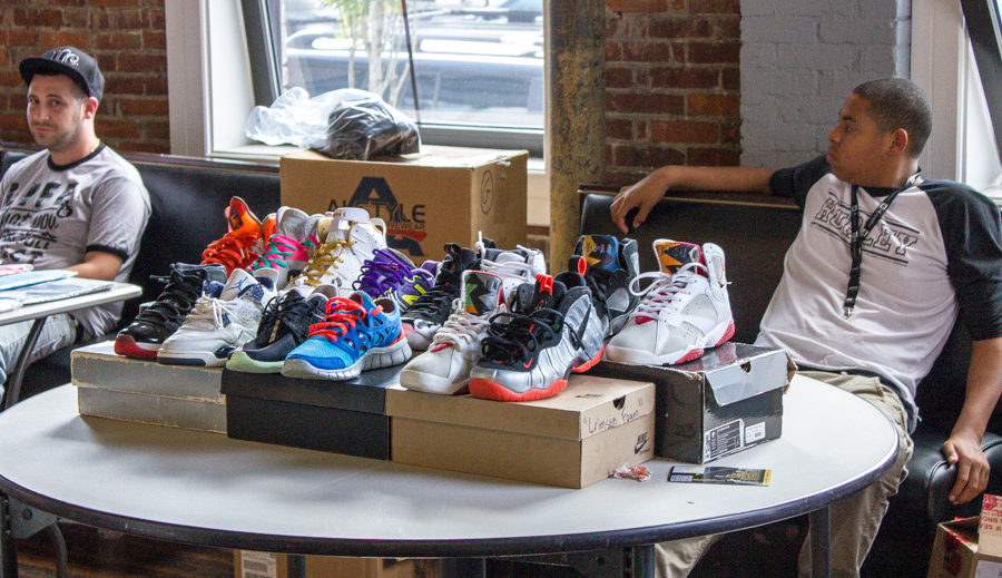 Sneakers on display.  Heat for your feet!